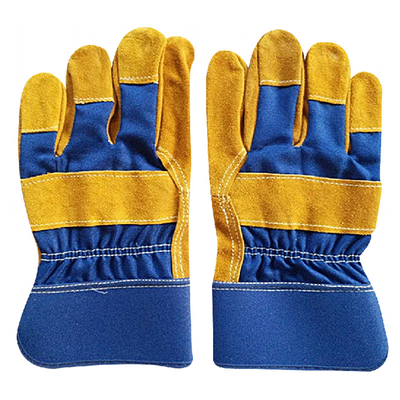Golden patched palm working gloves